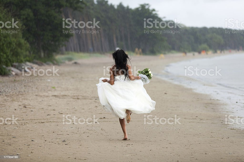 Runaway bride royalty-free stock photo
