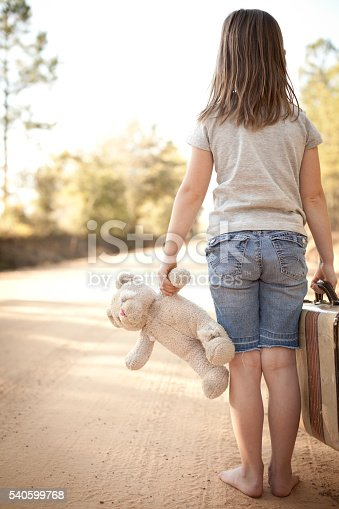 istock Runaway or Lost Girl Holding Old Teddy Bear and Suitcase 540599768