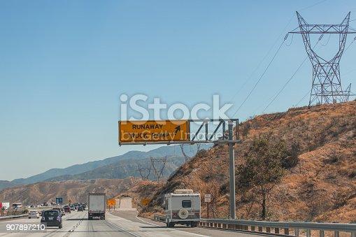 Runaway truck off ramp on a freeway