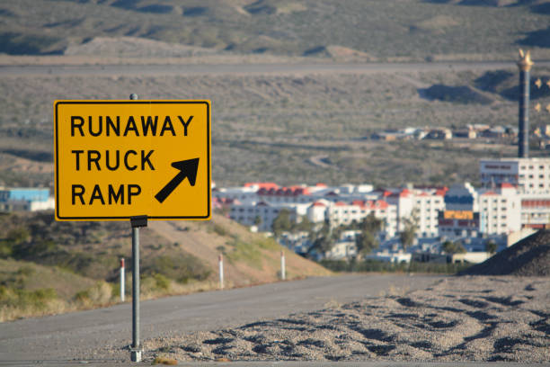 runaway truck ramp sign a emergency escape ramp in laughlin, clark county nevada usa - clark county nevada stock pictures, royalty-free photos & images
