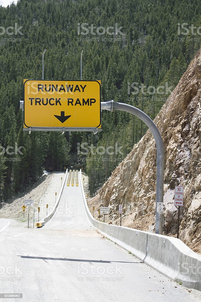 Runaway Truck Ramp sign royalty-free stock photo