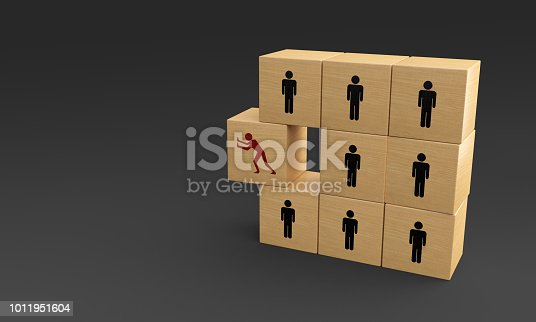 istock Runaway Wooden Cube - Freedom - Betrayal Concepts 1011951604