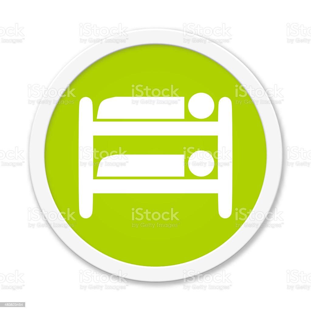Rund Button showing loft bed stock photo