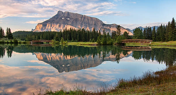 Rundle Mountain Reflection stock photo