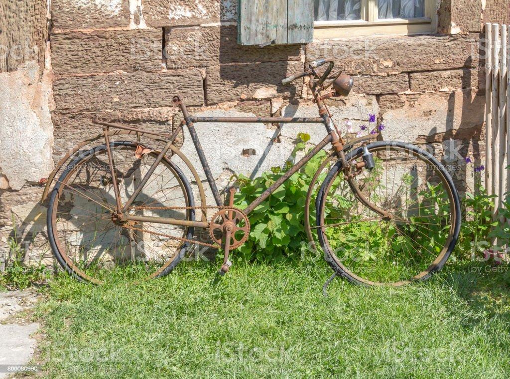 rundown bicycle stock photo