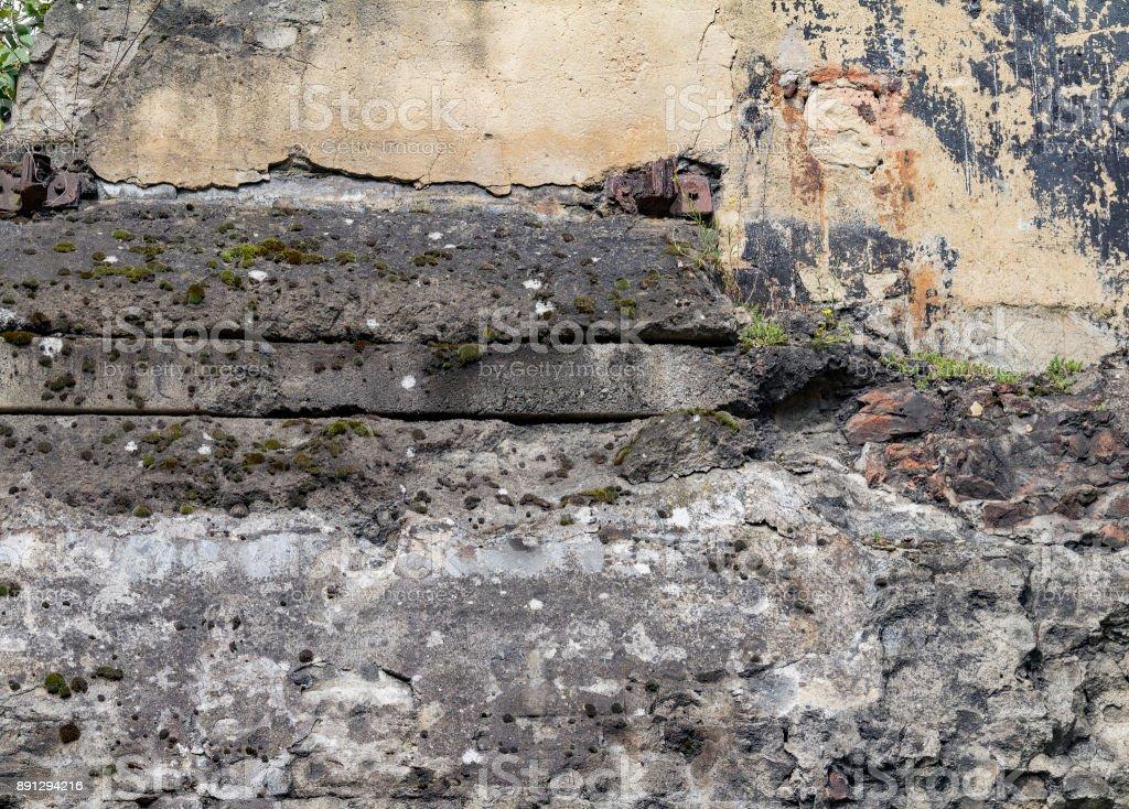 rundown facade detail stock photo
