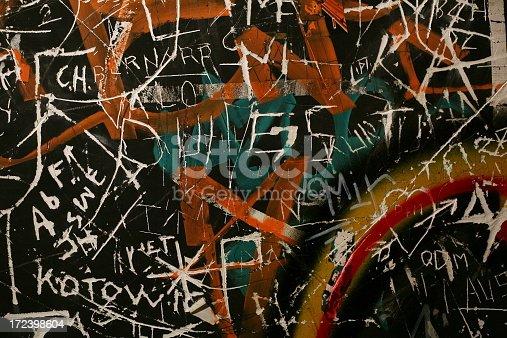 Run-down graffiti  in public toilet in Paris, France.