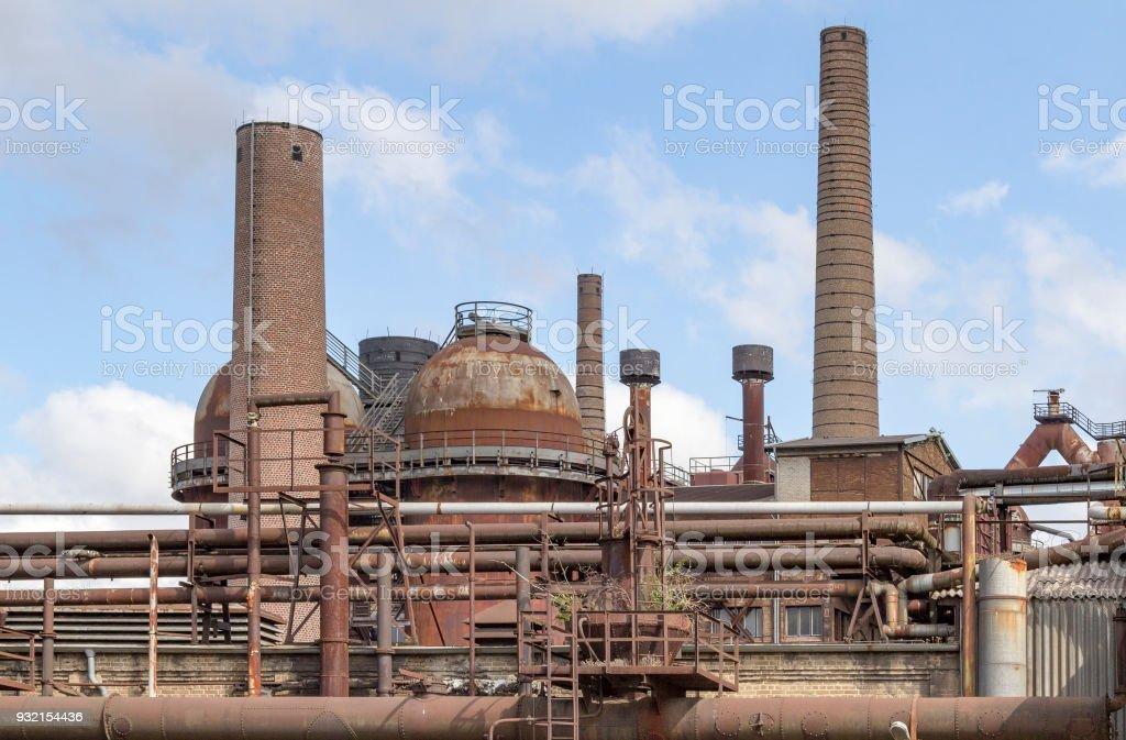 rundown industrial scenery stock photo
