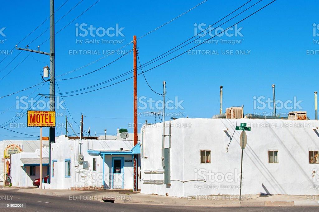 Run-down, Old, Retro Motel in New Mexico stock photo