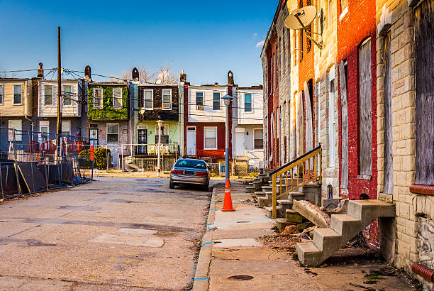 Run-down residential area in Baltimore, Maryland. stock photo