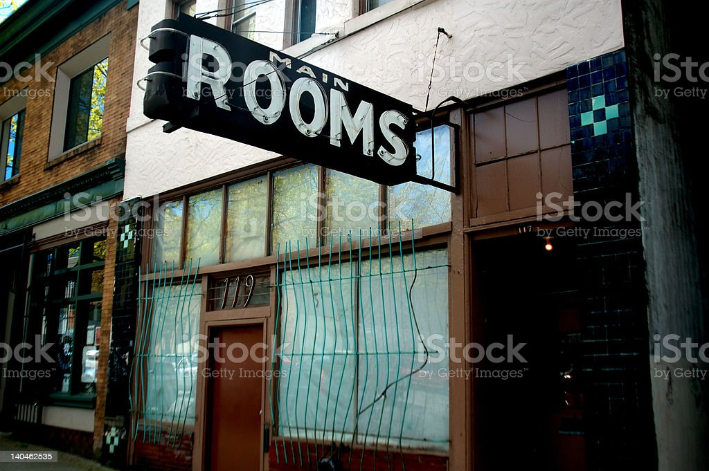Run-down rooming house stock photo