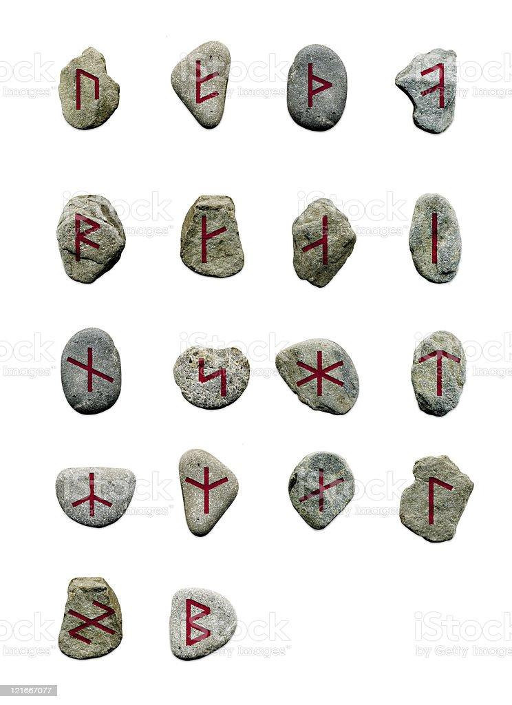 Runes stone set - isolated on white stock photo