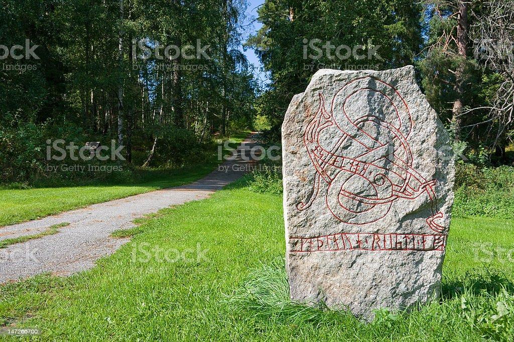 Runic stone stock photo