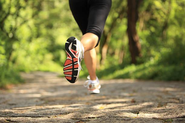 Runner athlete legs running on forest trail. stock photo