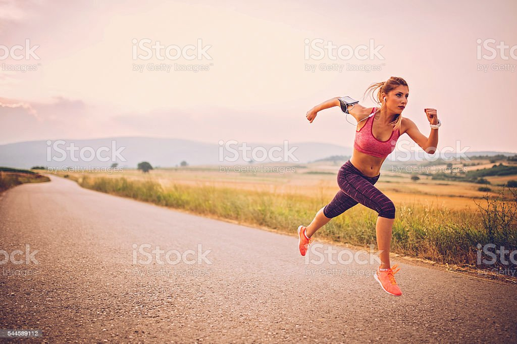 Runner athlete running stock photo