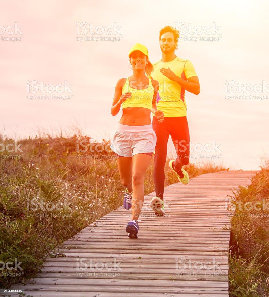 Runner couple stock photo