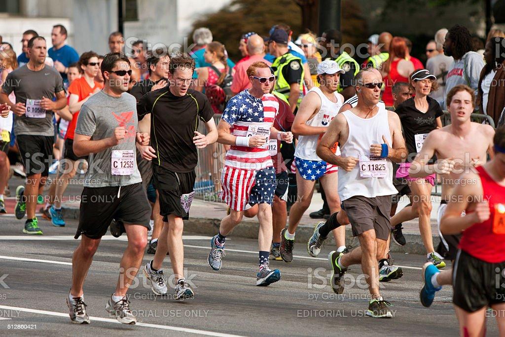 Runner Dressed In Stars & Stripes Runs Atlanta Race stock photo