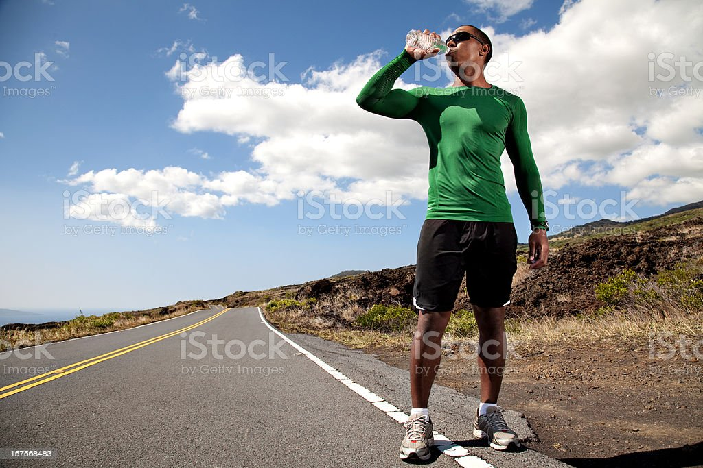 Runner Drinking Water royalty-free stock photo