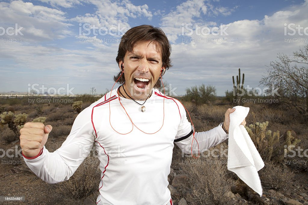 Runner excited about workout royalty-free stock photo