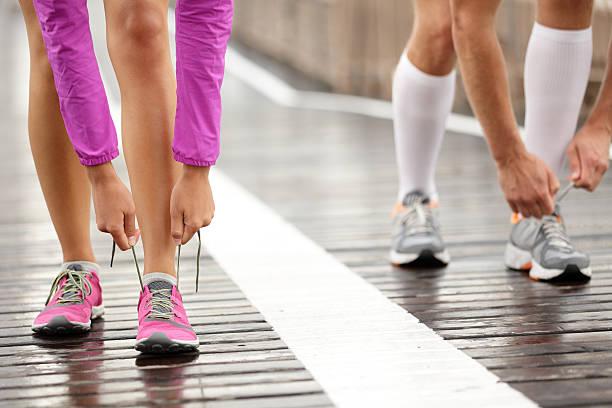 Runner feet stock photo