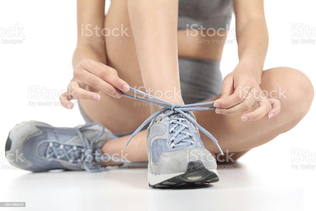 Corredor fitness mujer anudar el shoelaces listo para deportes - Foto de stock de Adolescente libre de derechos