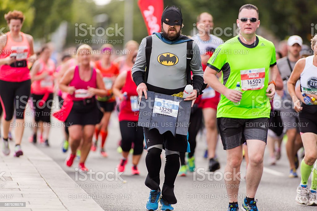 Runner in a bat costume stock photo