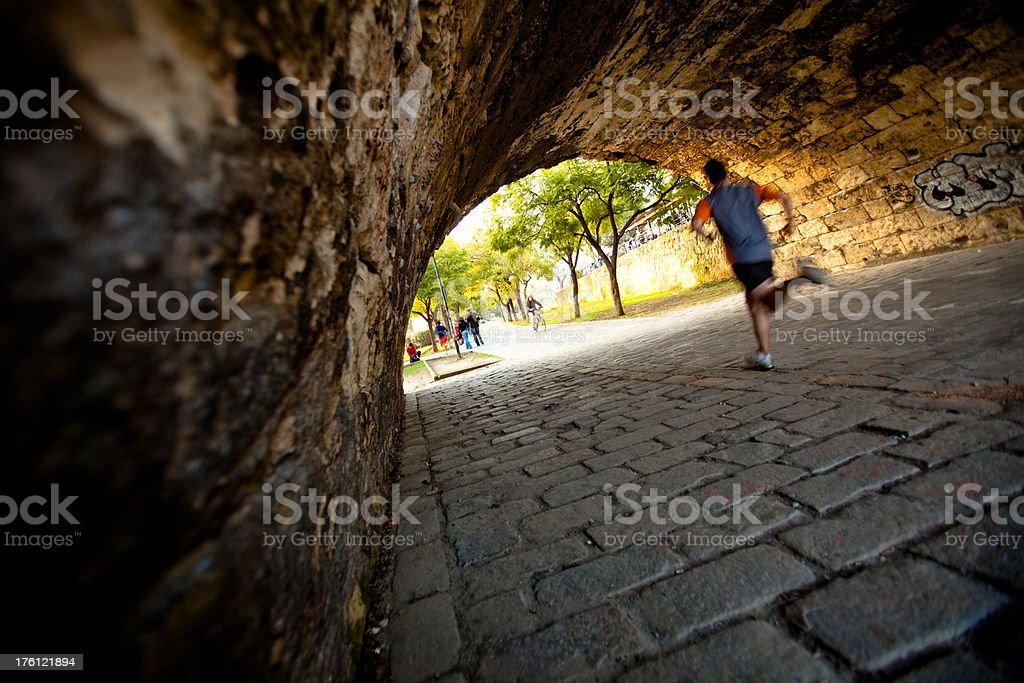 Runner in a Tunnel royalty-free stock photo