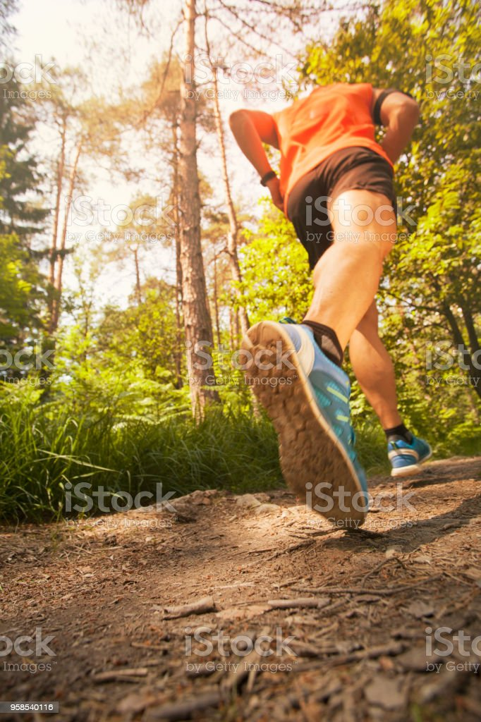 Runner in forest - low angle view stock photo