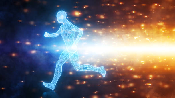 Runner in motion shown in abstract design stock photo
