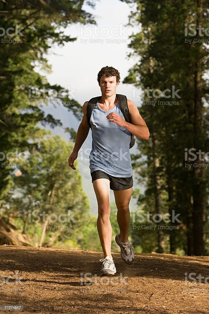 Runner in the forest royalty-free stock photo