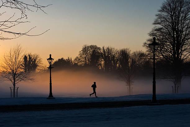 Läufer in der Misty Phoenix Park. – Foto
