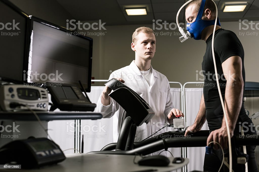 Runner on a treadmill stock photo
