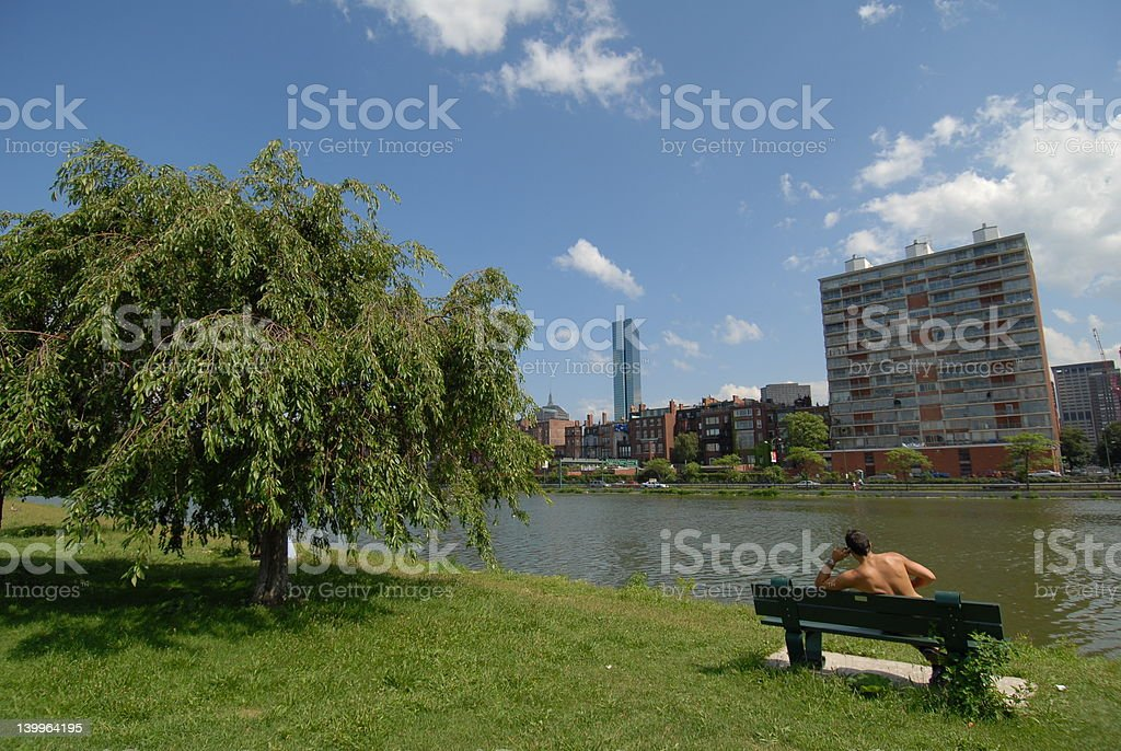 Runner on the phone by a river royalty-free stock photo