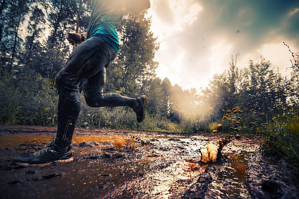 runner - dirty shoes stock photos and pictures