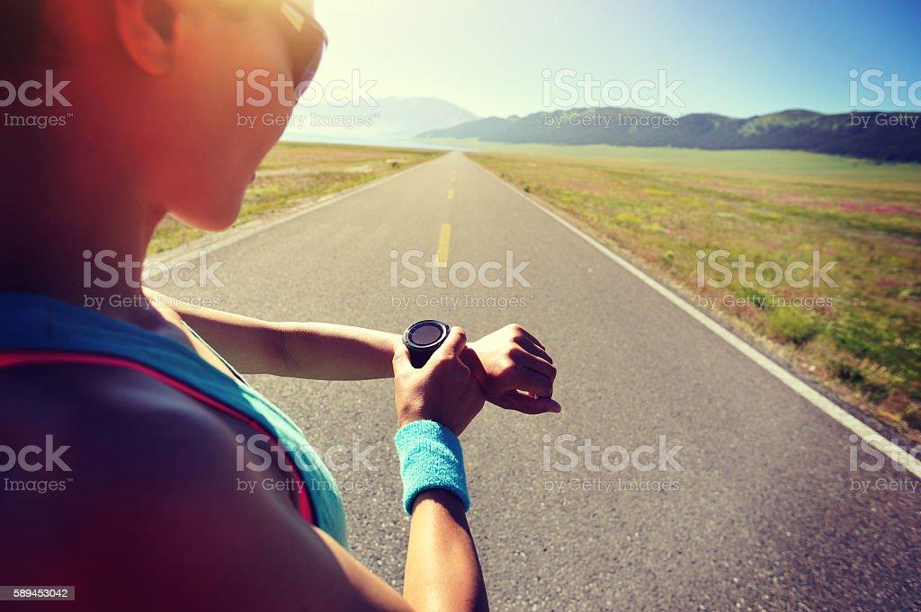 runner ready to run set  sports smart watch stock photo