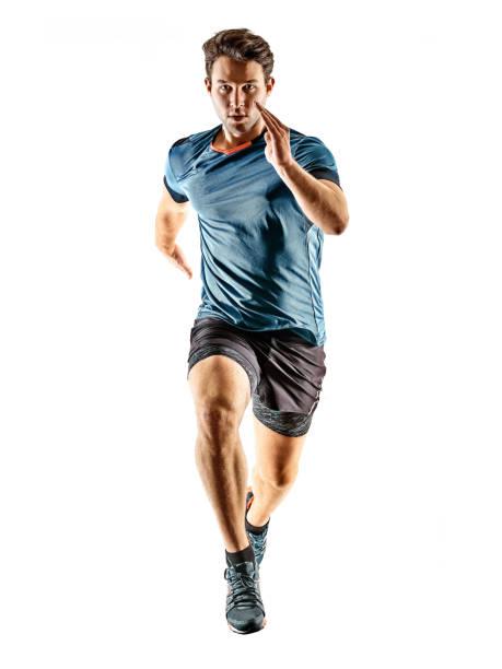 Läufer laufen Jogger Jogger junger Mann isoliert weißen Hintergrund – Foto