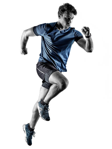 runner running jogger jogger young man isolated white background stock photo