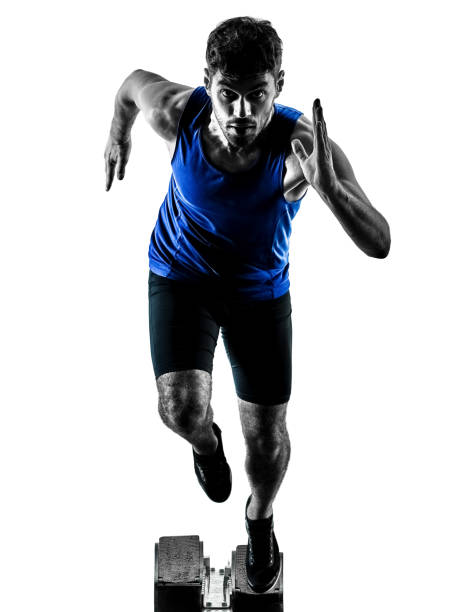 runner sprinter running sprinting athletics man silhouette isola stock photo