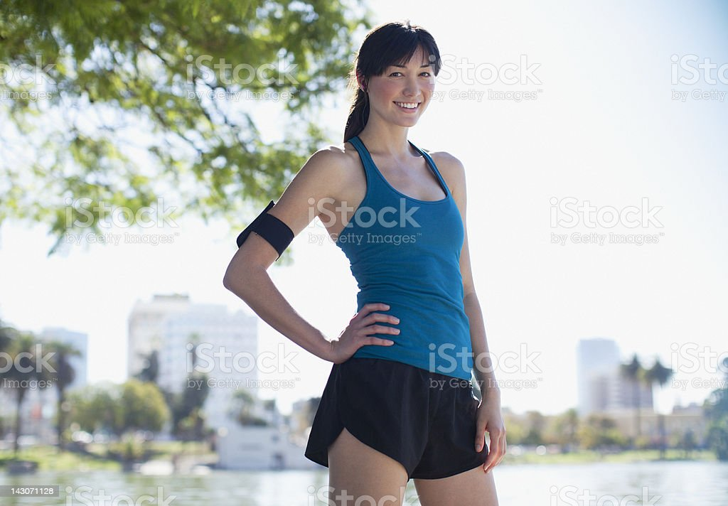 Runner standing in park royalty-free stock photo
