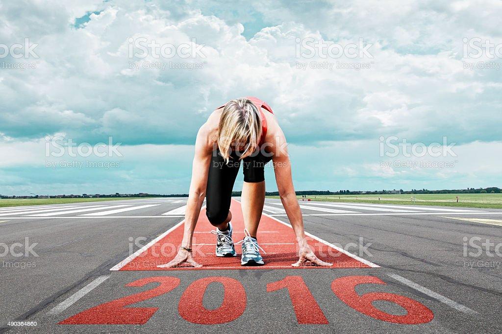 runner start runway 2016 stock photo
