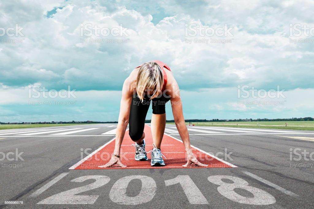 Läufer starten Start-und Landebahn 2017 – Foto