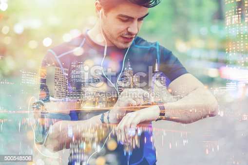 istock Runner taking pulse on smart watch 500548506