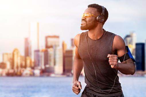 Runner training outdoors