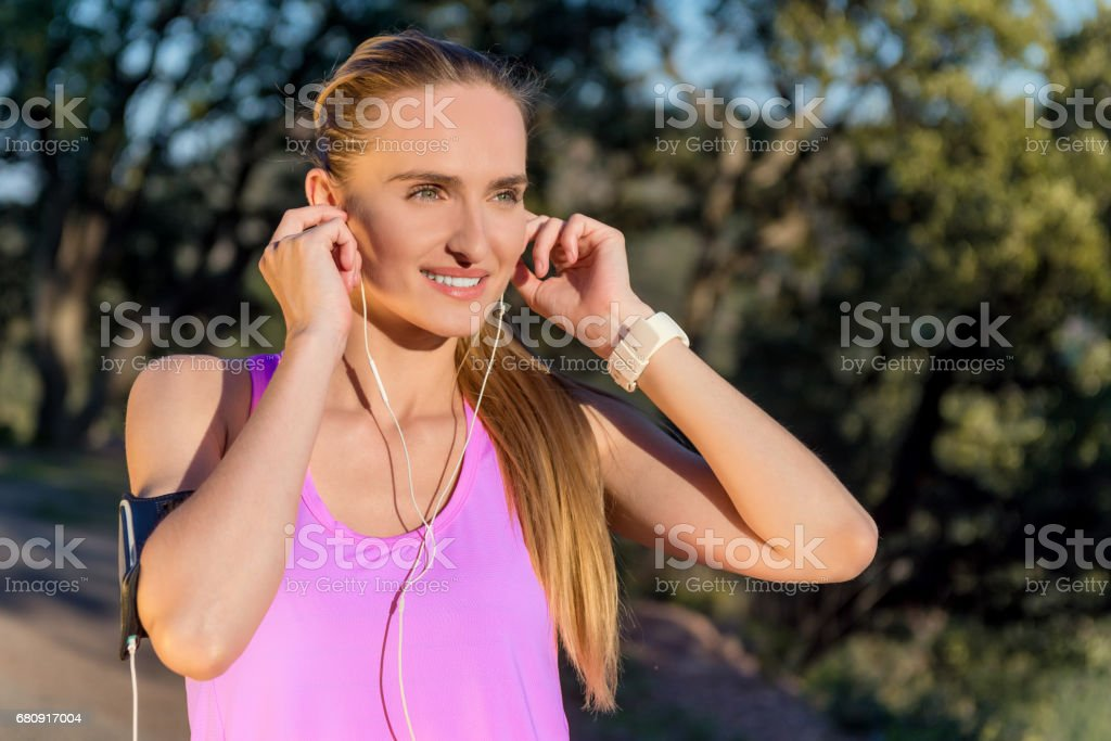 Runner with music royalty-free stock photo