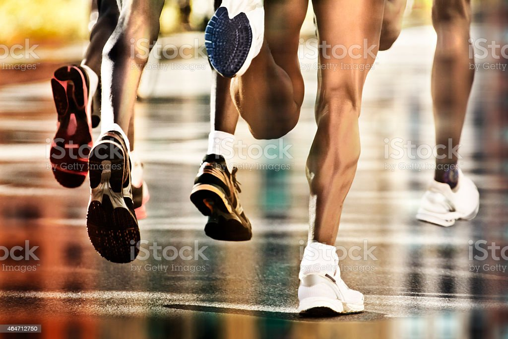 runners city reflections stock photo