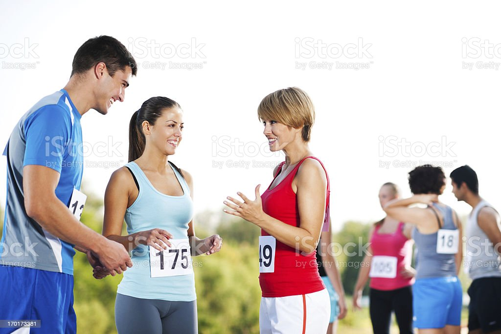 Runners communicating royalty-free stock photo