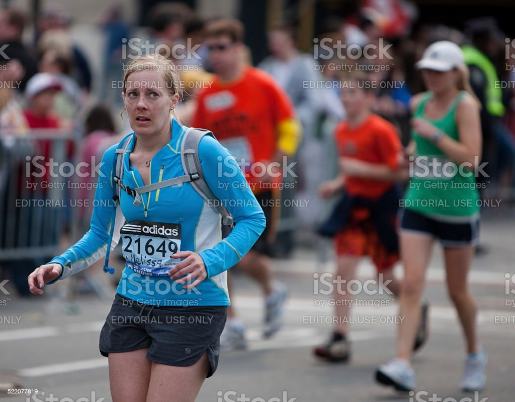 Runners near the finish line of the Boston Marathon stock photo
