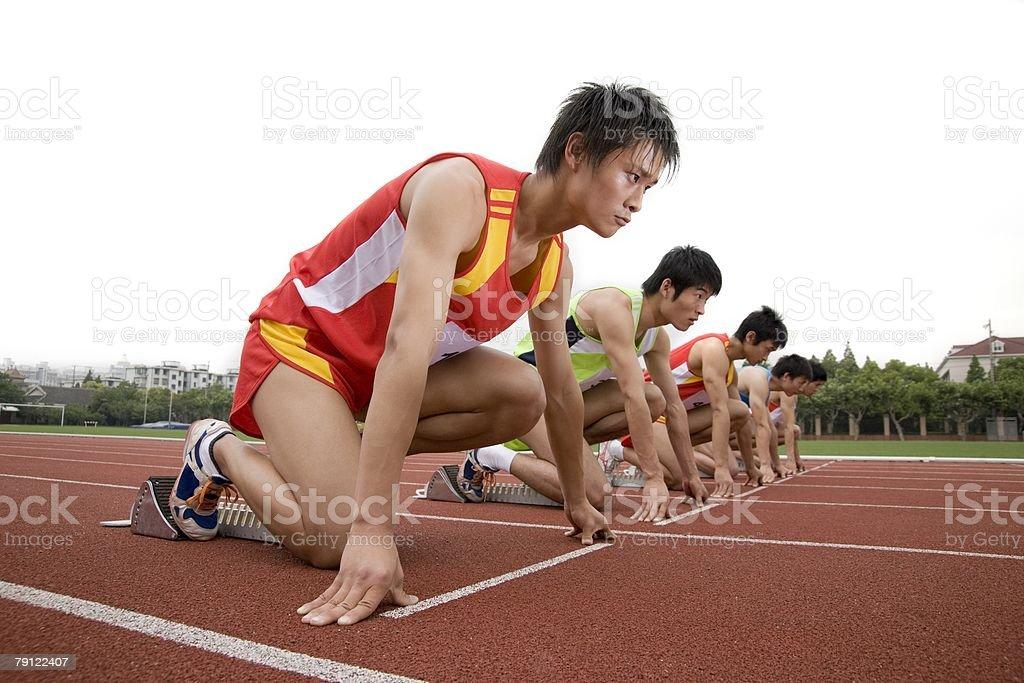 Runners on starting line 免版稅 stock photo