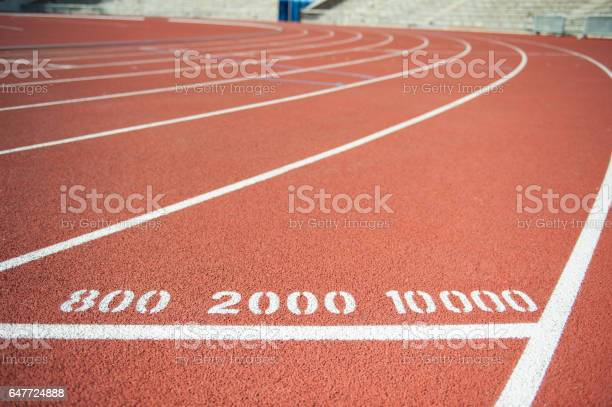 Runners track, 800, 2000 and 10000 meters distance marking