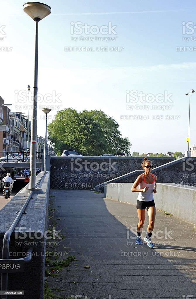 Runnig by the Amstel royalty-free stock photo